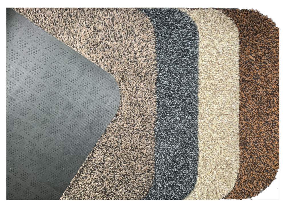 Morland Cotton Luxury Door Mat showing 4 colours and backing