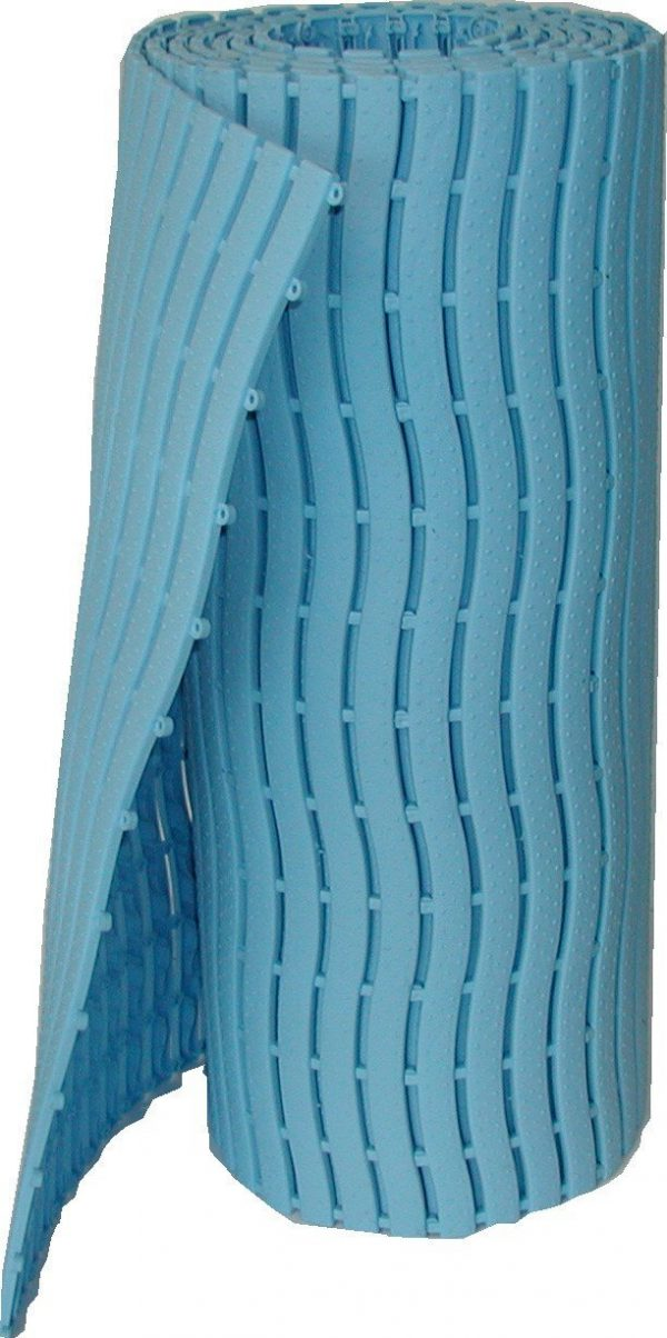 A tile of Morland Aqua Step Wave pool matting in Pastel Blue rolled up and stood on its end